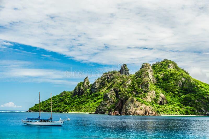 Sailing the Fiji Islands. Perfect vacation scene: sailing the Fiji Islands on a wonderful summer day royalty free stock photo