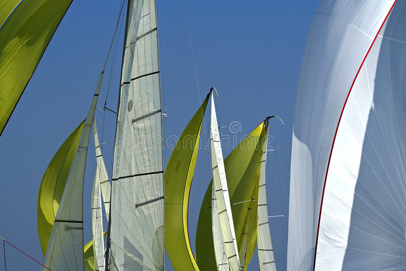 Sailing in Good Wind / sails background. / spinnakers royalty free stock photography