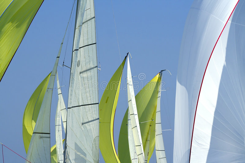 Sailing in Good Wind / sails background. / spinnakers stock photos