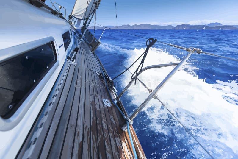 sailing Iate do navio no mar aberto Ilustração do vetor fotografia de stock