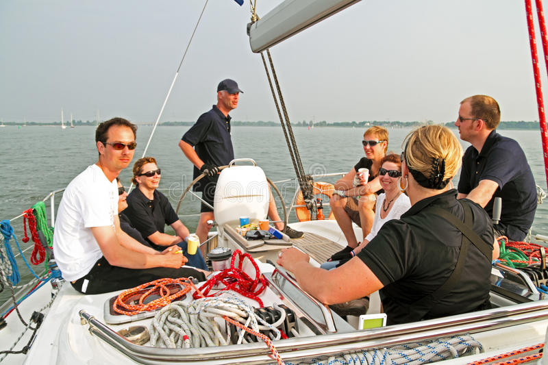 Sailing on the IJsselmeer in the Netherlands royalty free stock photo