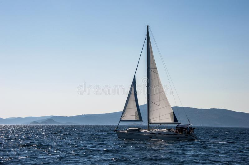 Sailing among the islands of Croatia. royalty free stock images