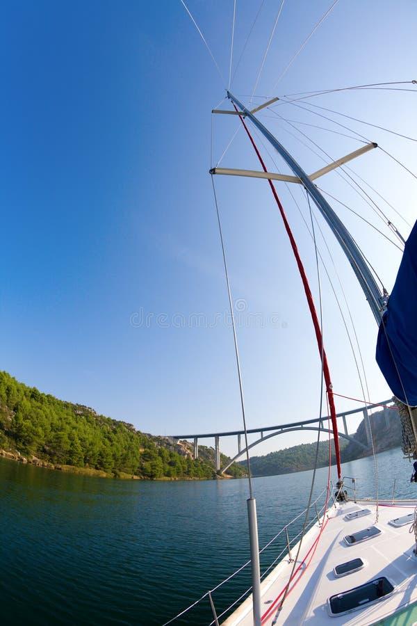 Sailing in the Krka River stock photos