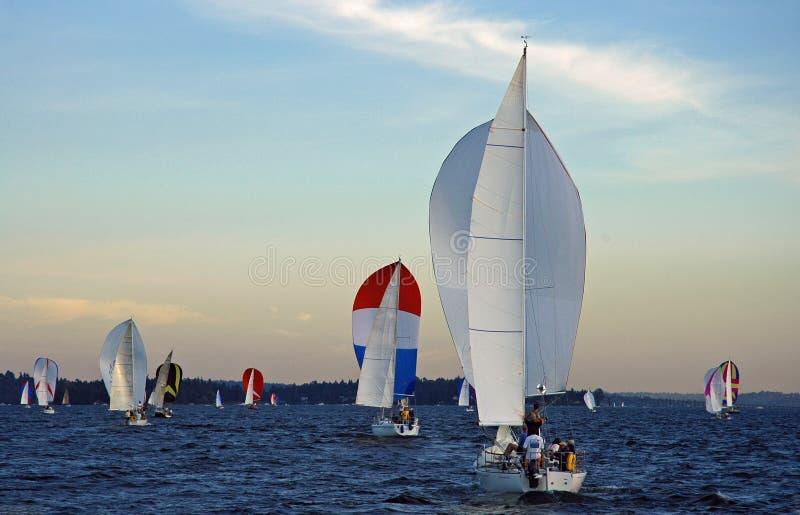 Sailing on Lake Washington stock images