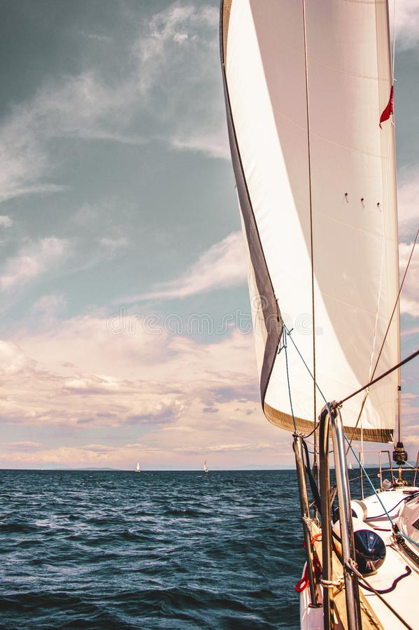 Catching wind. Sailing in Croatia. royalty free stock image