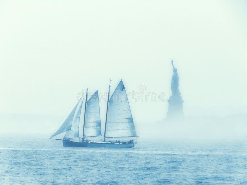 Sailing Past Liberty stock photos