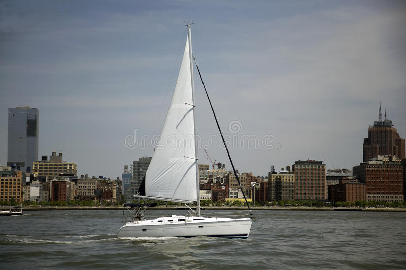 Sailing past Manhattan royalty free stock photography