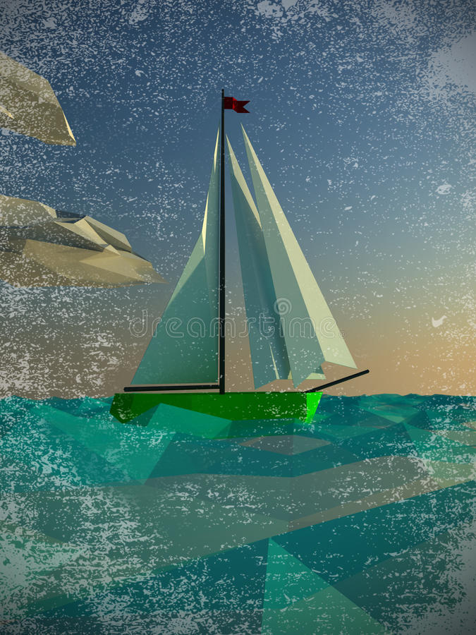 Download Sailing  polygon yacht stock illustration. Illustration of electric - 27166058