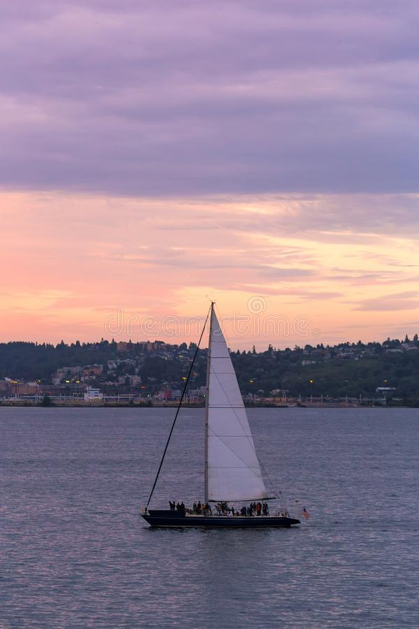 Sailing on Puget Sound at Sunset in Seattle WA. Sailing on the Puget Sound in Seattle Washington during sunset royalty free stock image