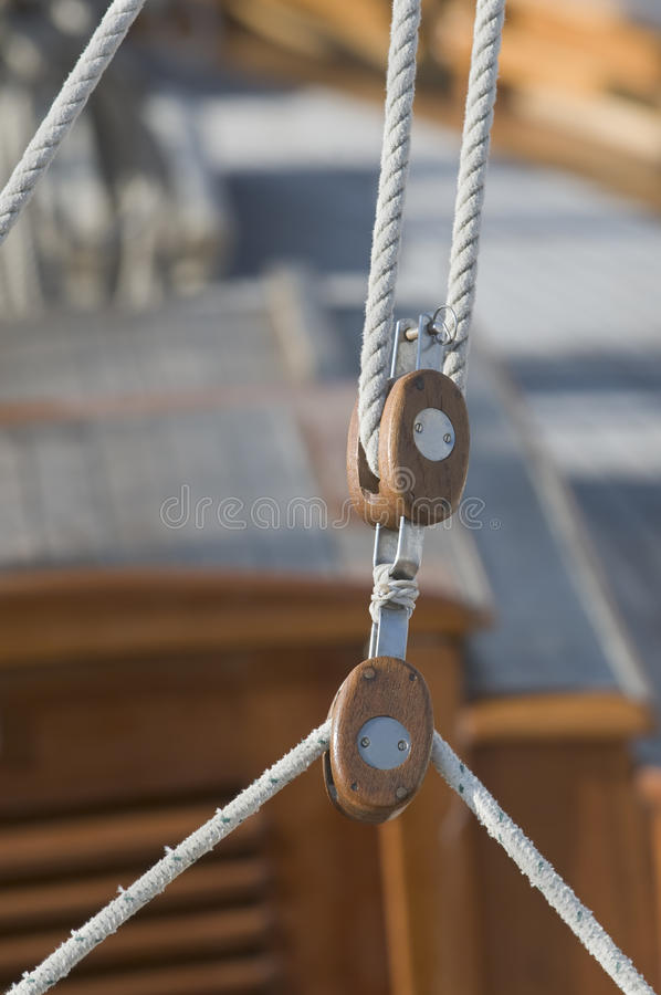 Sailing pulleys royalty free stock photos