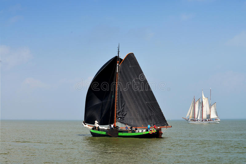 Sailing race on lake ijsselmeer,Volendam,the Netherlands stock images