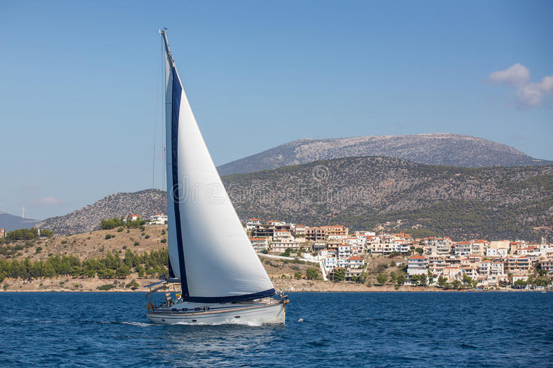 Sailing, racing yachts on the high seas. Luxury. stock images