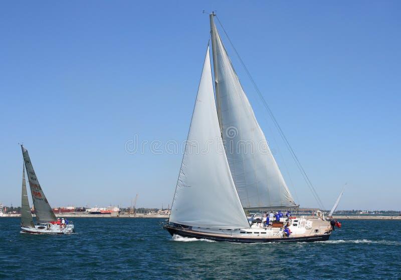 sailing regatta of cruiser sailing yachts stock image