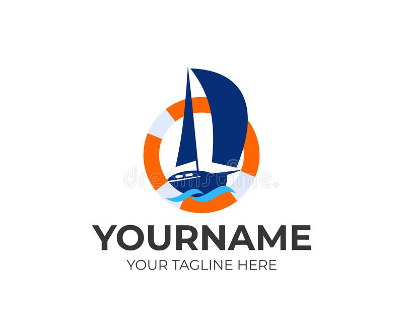 Sailing, sailboard, regatta, yacht in a lifebuoy and waves, logo design. Marine, sea, ocean, river and nautical, vector design. And illustration stock illustration