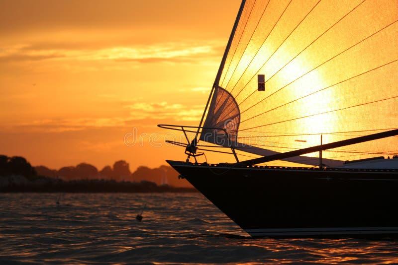 Sailing in Salem Sound stock image