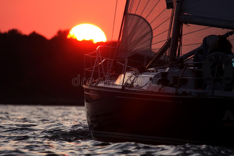 Sailing in Salem Sound. Sailing in Salem Bay outside of Marblehead and Beverly Harbor royalty free stock image