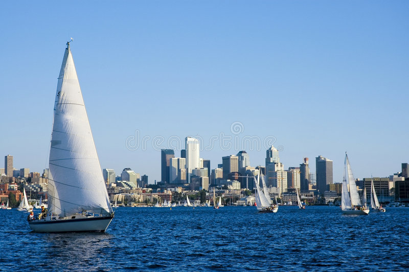 Sailing in Seattle royalty free stock photography