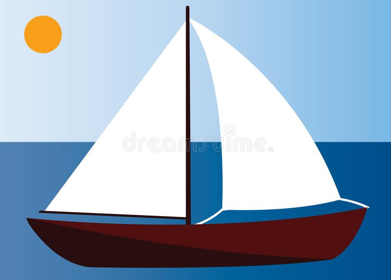 Sailing in the shallow waters. A sailing yacht cruising on the shallow waters vector illustration