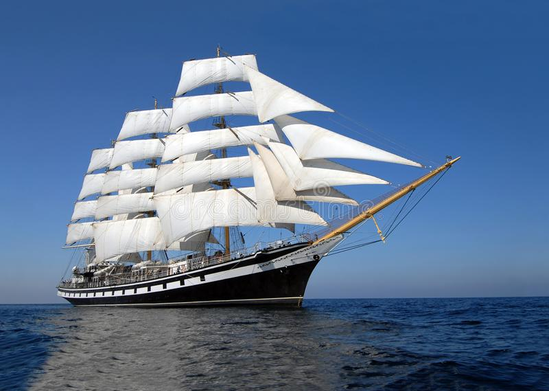 Sailing ship at 12:pm of the day. royalty free stock photography