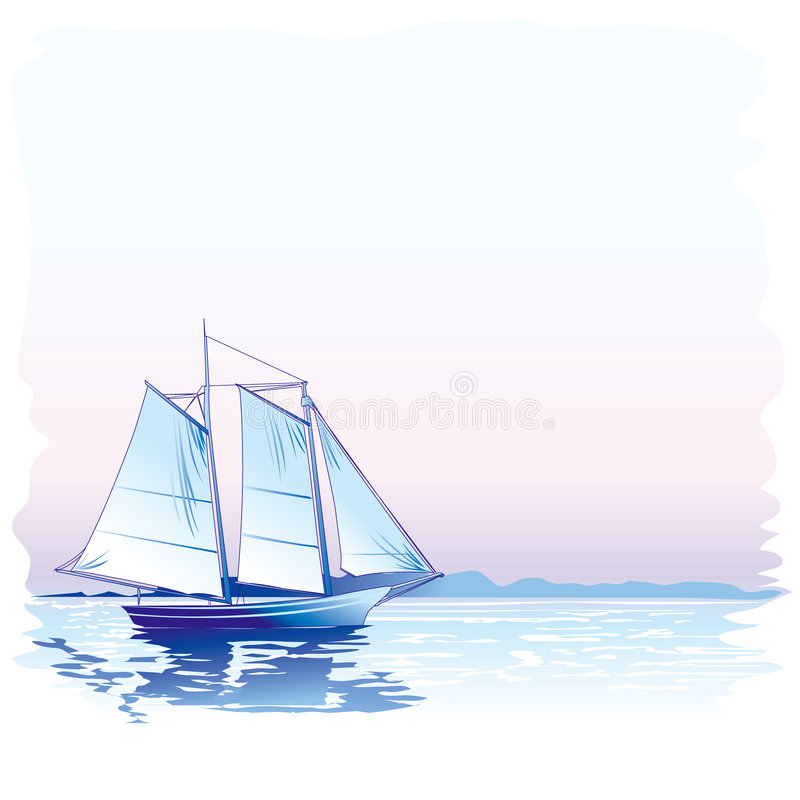 Sailing ship. At twilight, vector illustration vector illustration