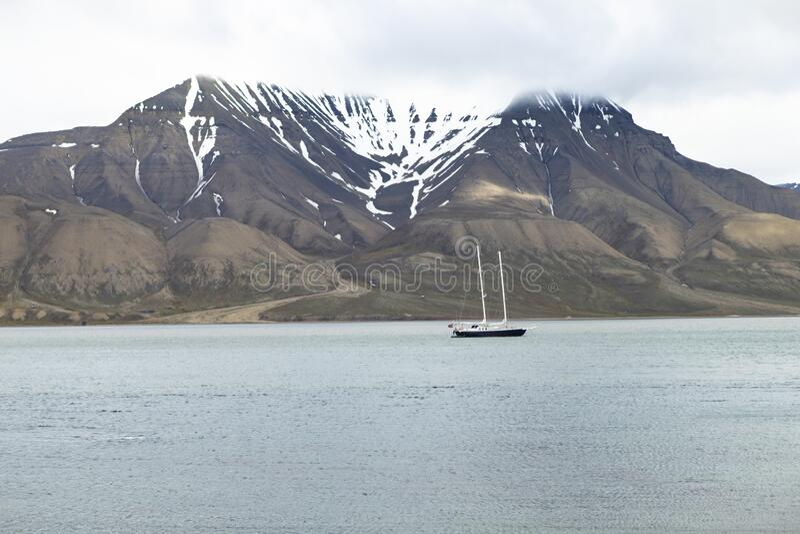 Sailing ship anchored royalty free stock image