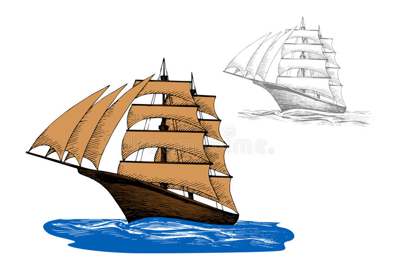 Sailing ship among blue ocean waves. Old wooden sailing ship with pale brown sails among blue ocean waves, including second variant in gray colors. Marine travel stock illustration