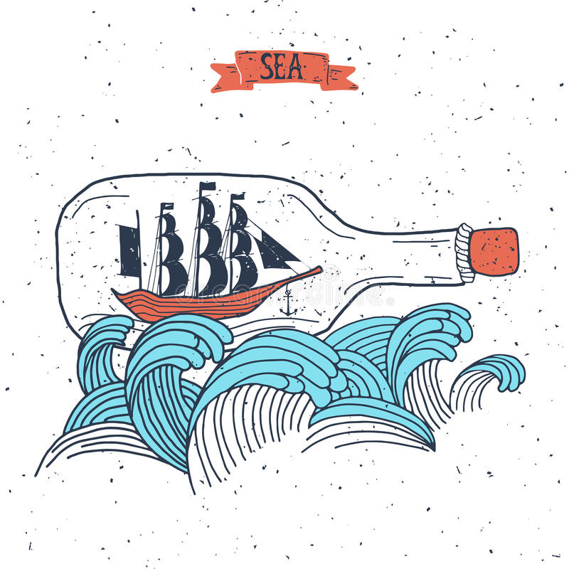 Sailing ship in the bottle,. Hand drawn vector illustration for poster, greeting card, t-shirt vector illustration