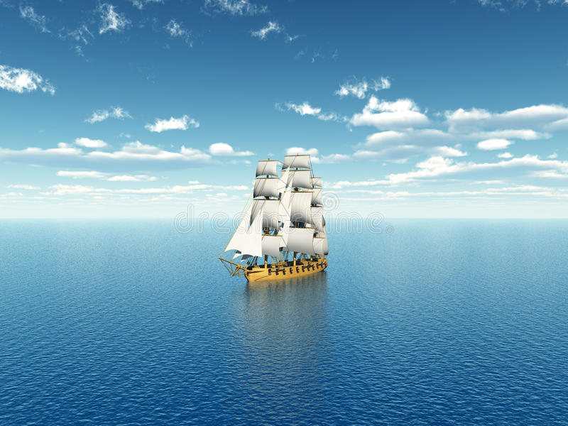 Sailing Ship in the Distance. Computer generated 3D illustration with a Sailing Ship royalty free illustration
