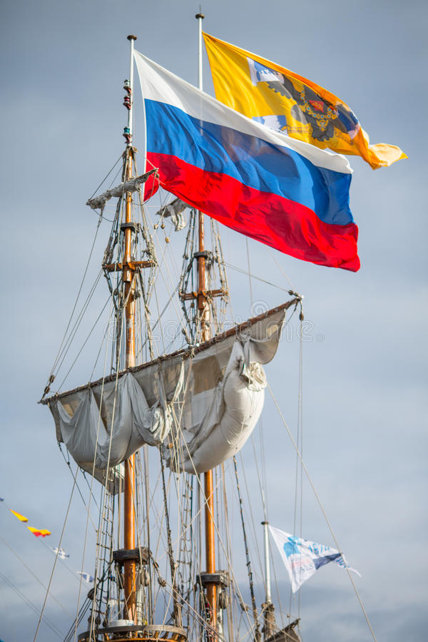 Sailing Ship - flag royalty free stock photo
