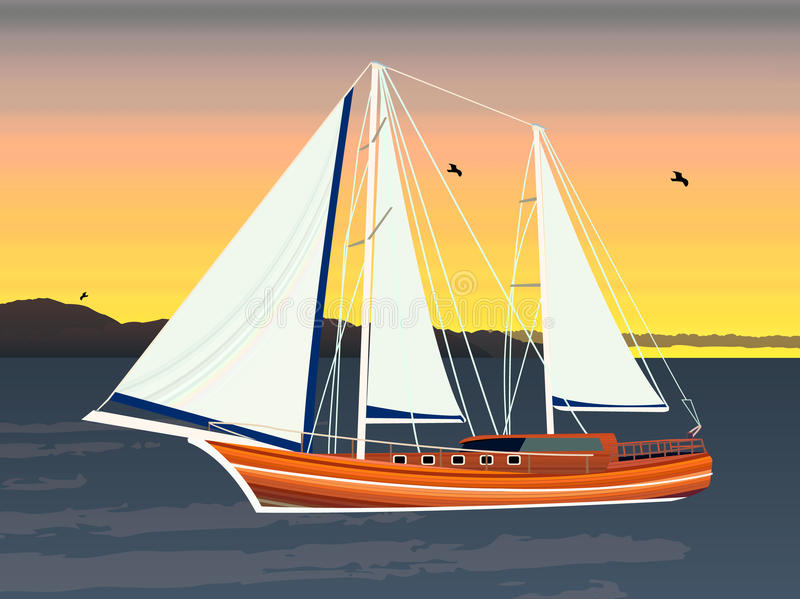Sailing ship floating on the ocean. Against the background of the evening and mountains. Creative modern illustration stock illustration