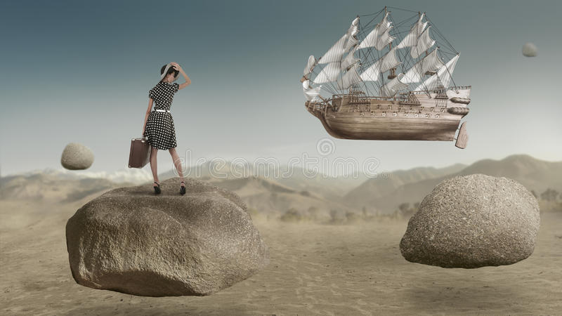Sailing ship flying on the sky fantasy fine art royalty free stock image