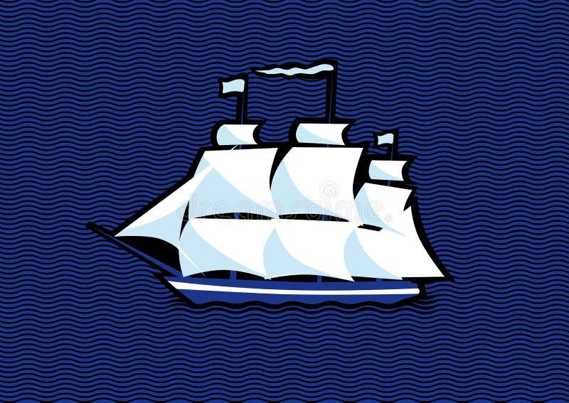 Sailing ship Frigate. On a sea background stock illustration