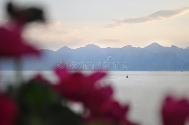 Sailing ship in good weather on a background of beautiful sky and mountains with defocused flowers on foreground. Sailing ship on a background of beautiful sky royalty free stock photos