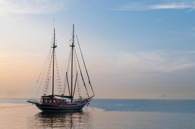Sailing Ship. Horizontal photo of a beautiful luxurious sailing ship, used for tour and sightseeing stock photo