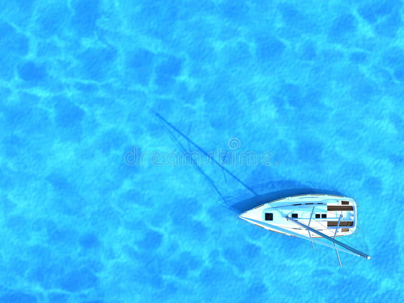 Sailing ship in the middle of ocean, top view, summer background. Travel concept royalty free illustration