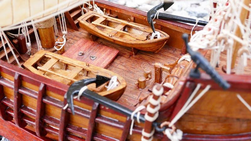Sailing Ship model detail - hand made stock image