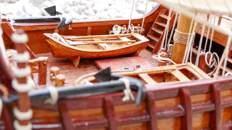 Sailing Ship model detail - hand made stock images