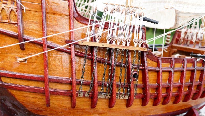 Sailing Ship model detail - hand made stock photo