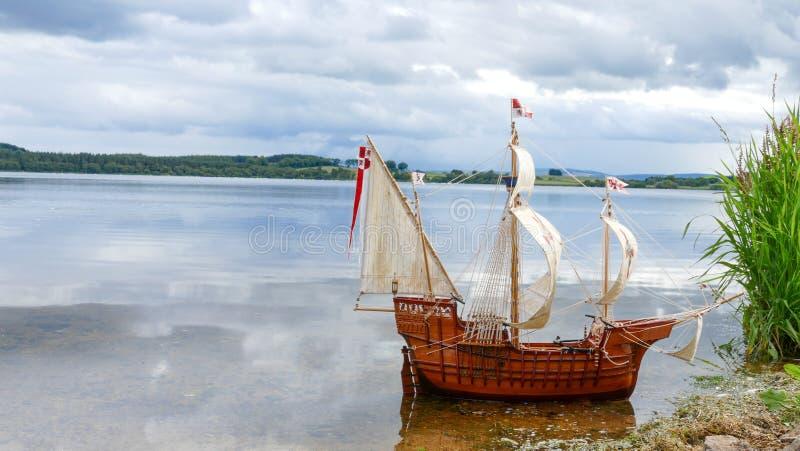 Sailing Ship model - hand made Santa Maria stock photo