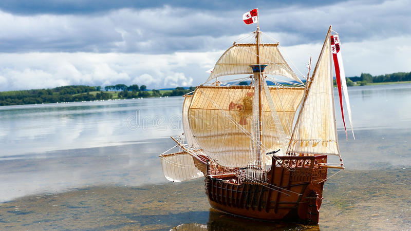 Sailing Ship model - hand made Santa Maria royalty free stock photography