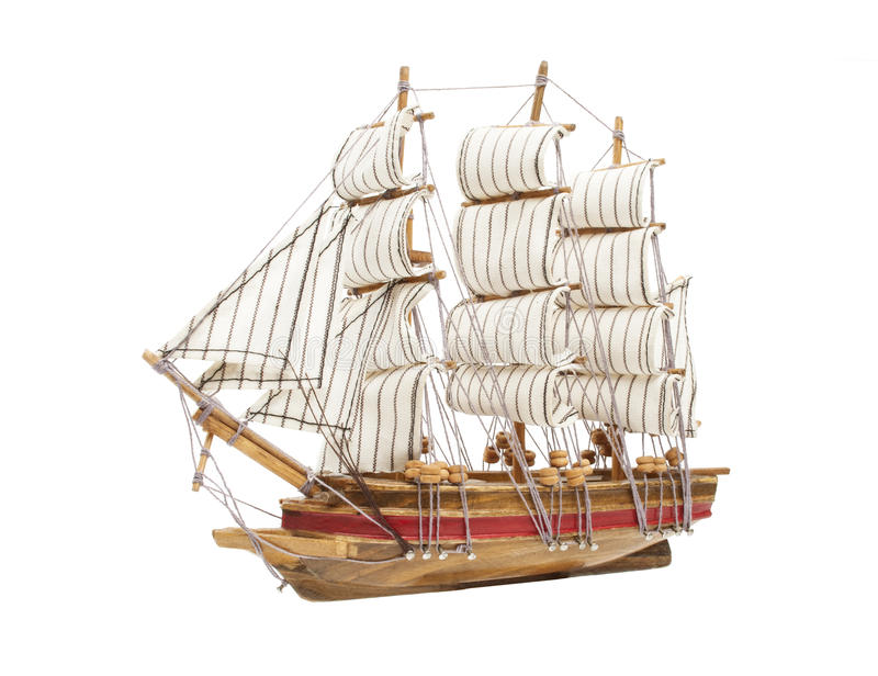 Sailing Ship Model Isolated On White Stock Photo - Image of boat, replica: 39751716