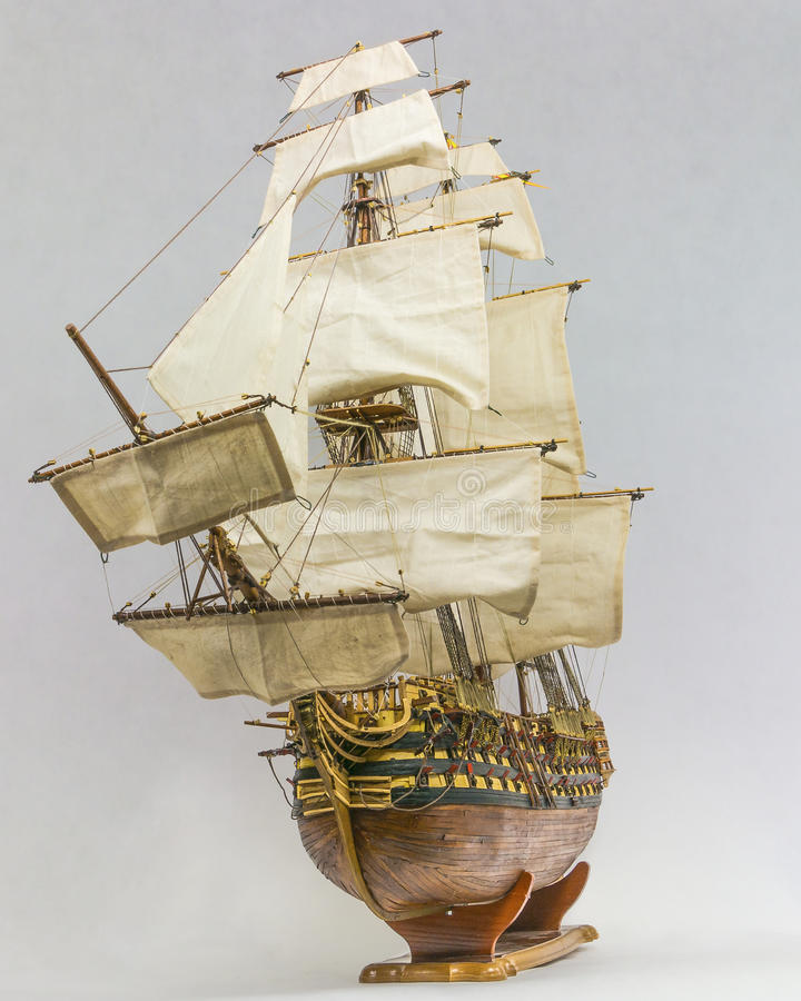 Sailing ship model. Wooden model sailing ship Santisima Trynidad, was a Spanish first-rate ship of the line, She was built at Havana, Cuba in 1796 royalty free stock photos