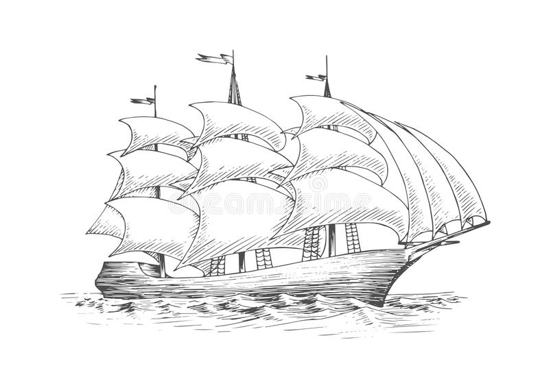 Sailing ship on the ocean with fluttering sails. Medieval tall sailing ship on the ocean with full fluttering sails n the breeze, for nautical, adventure or royalty free illustration