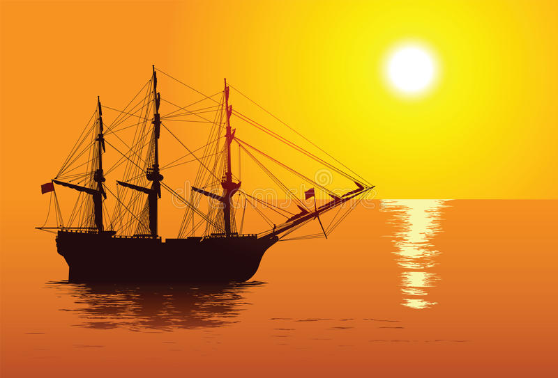 Sailing ship. Old sailing ship on a tranquil ocean stock illustration