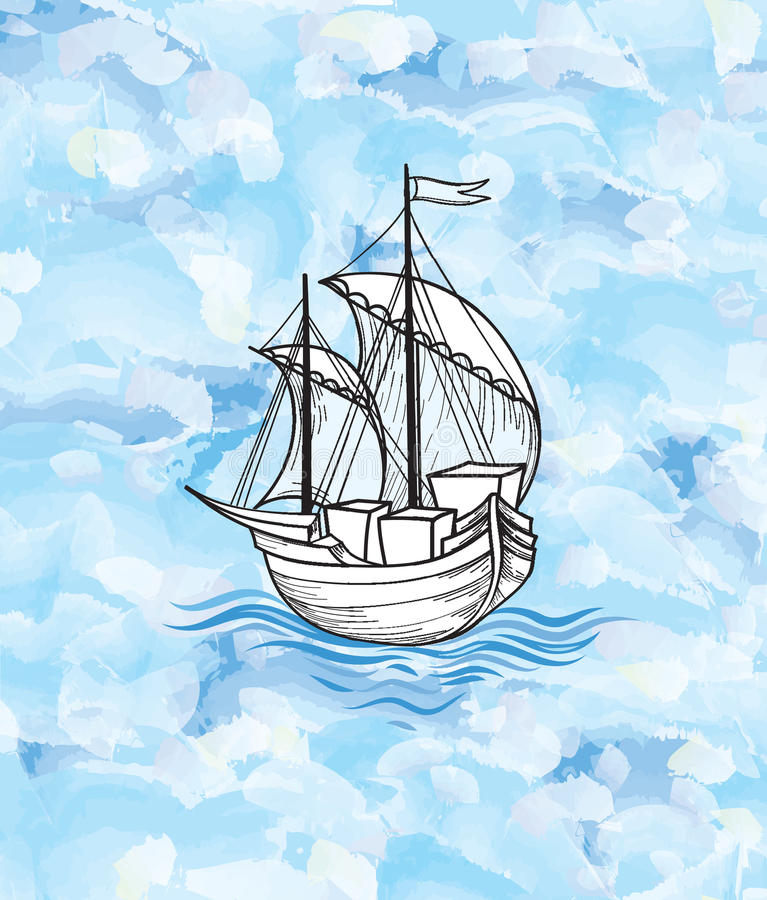 Sailing ship over ocean waves background. Sail boat transport. Sailing ship over ocean waves background. Ship transport. Marine travel sign royalty free illustration