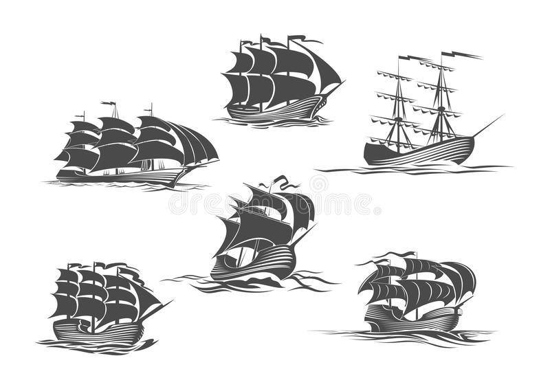 Sailing ship, sailboat, yacht and brigantine icon. Sailing ship, sailboat, yacht and brigantine isolated icon set. Old sailing vessel under full sails and flags stock illustration