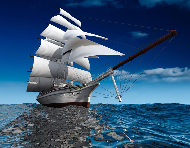 Sailing ship at sea. Sailing ship in the vast ocean with small waves is getting all the sails filled with sea breeze royalty free illustration