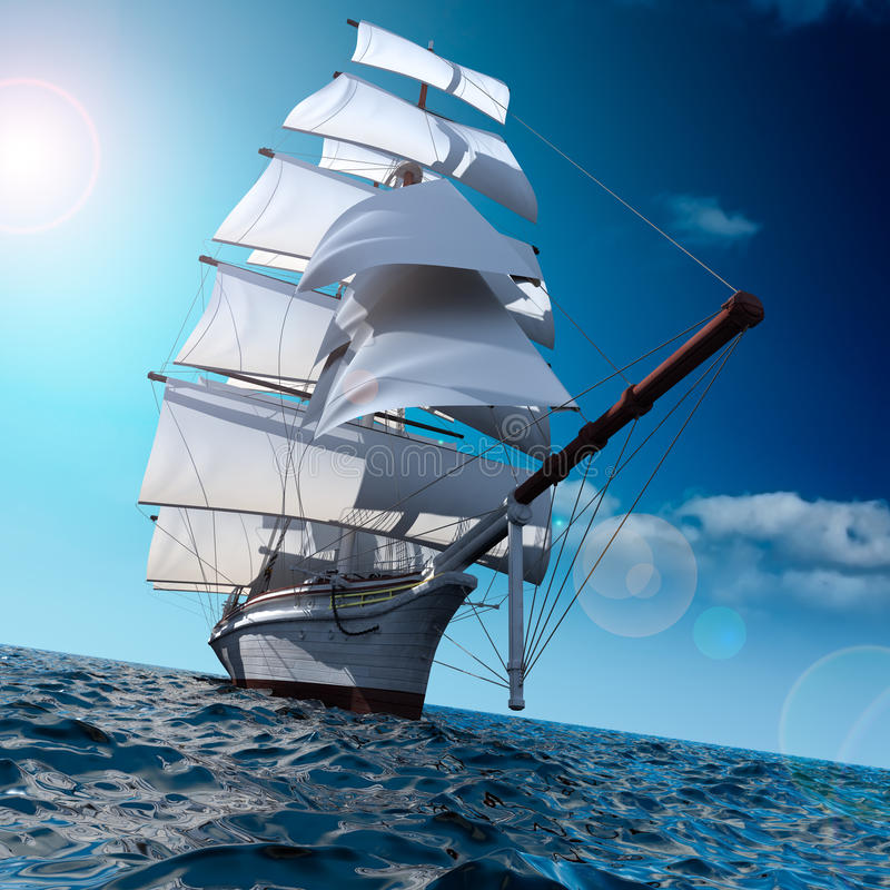 Sailing ship at sea. Sailing ship in the vast ocean with small waves is getting all the sails filled with sea breeze stock illustration