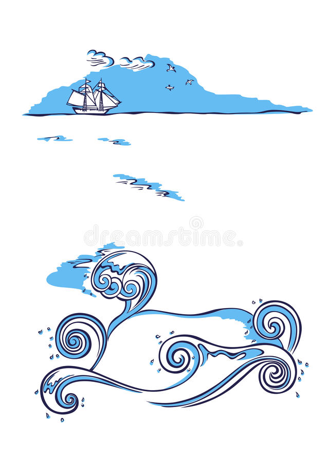 Download Sailing Ship Sea Nautical Background Stock Vector - Illustration of marine, silhouette: 90596273