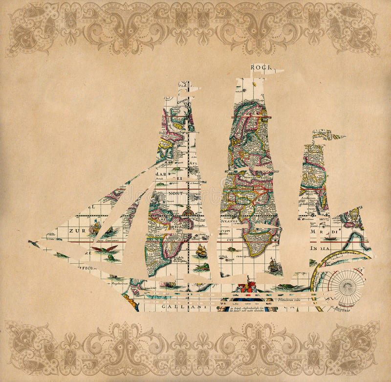 Free Sailing Ship Silhouette Over Antique Map - Retro Postcard Royalty Free Stock Images - 39694629